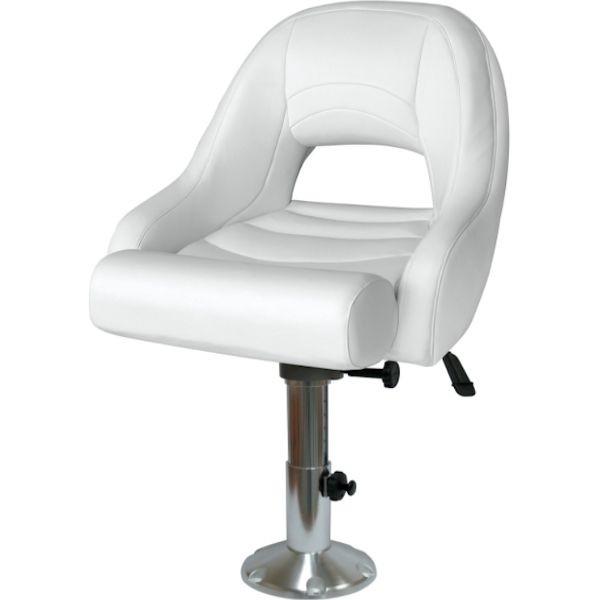 Flip Up Pontoon Boat Seat W/ Adjustable Sliding Pedestal
