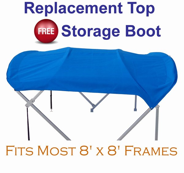 "Fits 1/"" Frame 8/'x8/' Gray Zip-On PontoonBoatTops.com Pontoon Bimini Fabric Top"