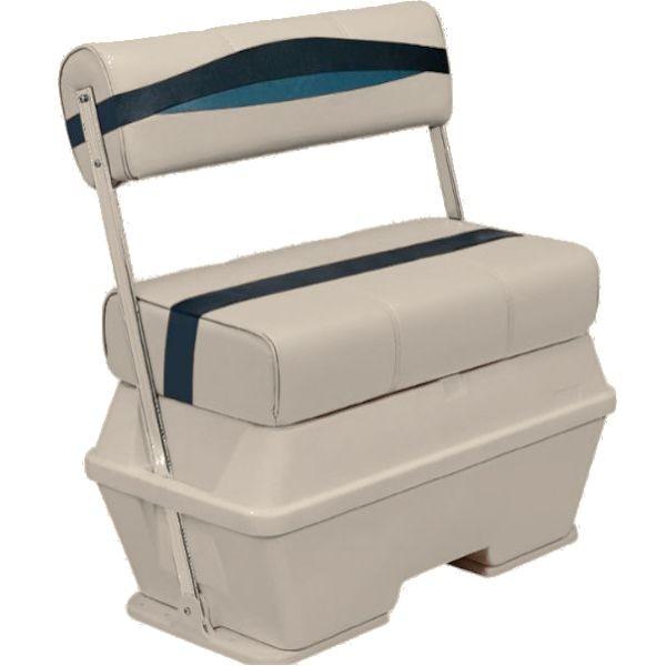 50 Quart Pontoon Boat Cooler Seat with Flip Flop